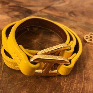 Tory Burch Plato Double Wrap Leather Bracelet